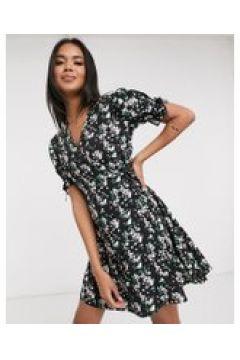 Pimkie - Vestito corto a portafoglio nero a fiori-Multicolore(121236838)