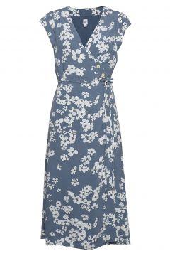 Wrap-Front Midi Dress Kleid Knielang Blau GAP(116414648)
