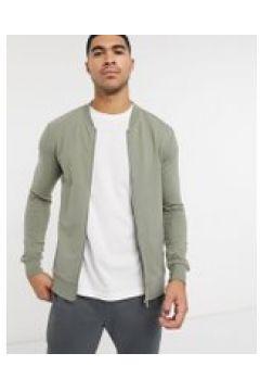 New Look - Bomber attillato in jersey color kaki-Verde(120240031)