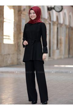 Black - Unlined - Suit - DressLife(110332072)