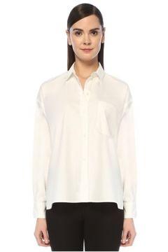 Vince Kadın Beyaz Cep Detaylı Yırtmaçlı Gömlek S EU(108810137)