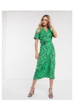 Never Fully Dressed - Vestito lungo a portafoglio con spacco alto verde a cuori-Multicolore(120331267)