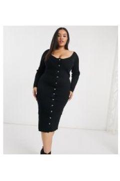 Fashion Union Plus - Vestito midi in maglia con abbottonatura frontale-Nero(121065896)