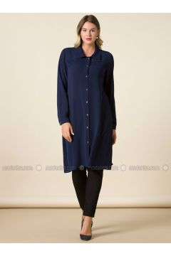 Navy Blue - Point Collar - Plus Size Tunic - RMG(110323009)