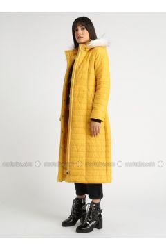 Yellow - Fully Lined - Coat - MOODBASİC(110339164)