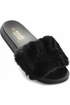 Czarne klapki damskie z ociepleniem(112082790)