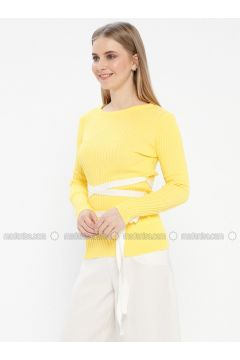Yellow - Crew neck - Acrylic -- Jumper - Kaktüs(110327773)