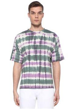 Isabel Marant Erkek Pondy Yeşil Mor Batik Desenli Basic T-shirt XL EU(109265327)