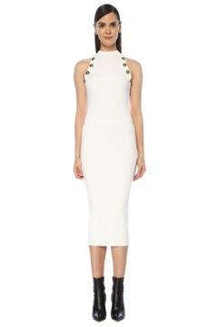 Balmain Kadın Beyaz Halter Yaka Düğme Detaylı Midi Triko Elbise 36 FR(118374790)