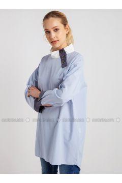 Blue - Stripe - Polo neck - Blouses - NG Style(110341206)