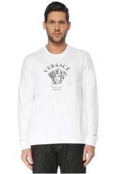 Versace Erkek Beyaz Bisiklet Yaka Logolu Sweatshirt S EU(126848082)