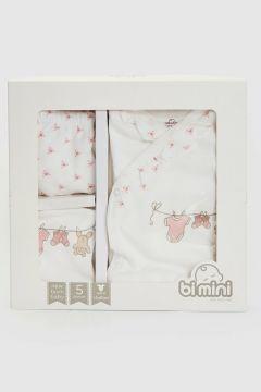 Bebek Bi Mini Desenli Hastane Çıkış Seti 5\'li(119460543)