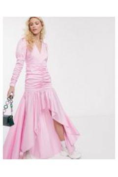 Notes Du Nord - Oister - Vestito lungo con fondo a fazzoletto e maniche a sbuffo rosa tebue(120300812)