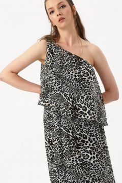 Beymen Studio Leopar Desen Tek Omuz Elbise(113976573)