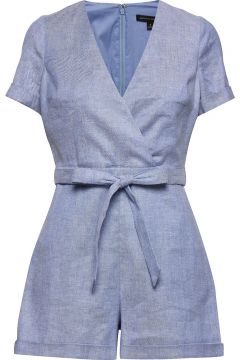Cotton-Linen Blend Romper Jumpsuit Blau BANANA REPUBLIC(114153747)