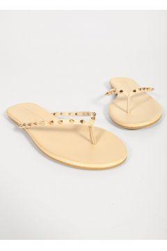 Shoes & More Kadın Bej Zımba Detaylı Slops Terlik(124525890)