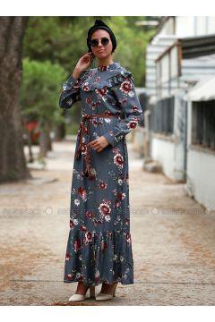 Gray - Floral - Crew neck - Unlined - Dresses - Myzen(110334933)