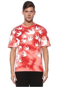 McQ Alexander McQueen Erkek Kırmızı Beyaz Kırlangıç Desenli Basic T-shirt XS EU(118478343)