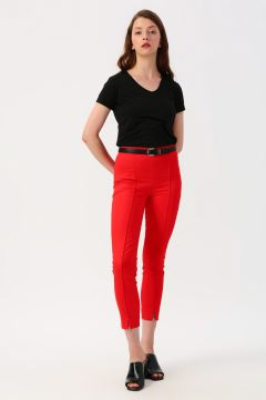 Twist Yan Fermuarlı Kırmızı Pantolon(113983305)