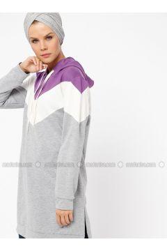 Gray - Lilac - Cotton - Tunic - Mustafa Dikmen(110326798)