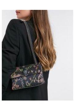 Kurt Geiger London - Kensington - Mini borsa a tracolla nera con catena multicolore-Argento(122791504)