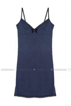 Navy Blue - V neck Collar - Viscose - Nightdress - Elitol(110319570)