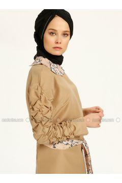 Brown - Tan - Round Collar - Tunic - MAKBUSH(110317430)
