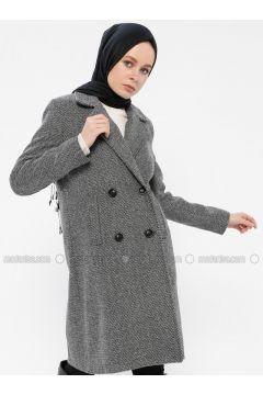 Gray - Fully Lined - Shawl Collar - Coat - Gzd(110337850)