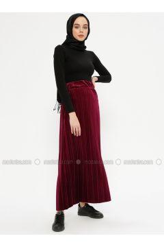 Maroon - Unlined - Skirt - Ginezza(110332079)