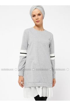 White - Gray - Ecru - Crew neck - Cotton - Tunic - Mustafa Dikmen(110326807)