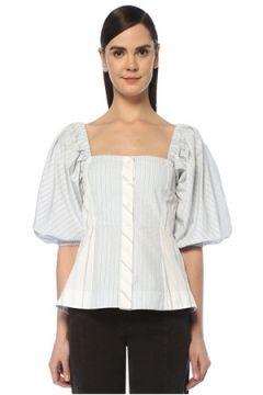 Ganni Kadın Mavi Beyaz Kare Yaka Karpuz Kol Bluz 36 FR(109265399)