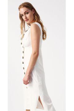 Beymen Studio V Yaka Beyaz Elbise(113976588)
