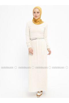 Beige - Crew neck - Unlined - Acrylic - Dresses - Dadali(110331670)
