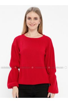 Red - Crew neck - Polo - Acrylic -- Jumper - Kaktüs(110327715)