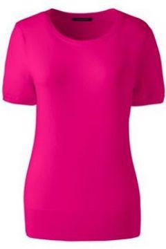 Supima Kurzarmpullover in Petite-Größe - Pink - 36-38 von Lands\' End(114310735)