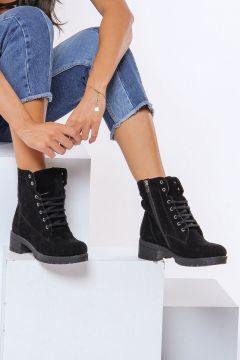 Shoes Time Siyah Süet Kadın Bot(116822672)