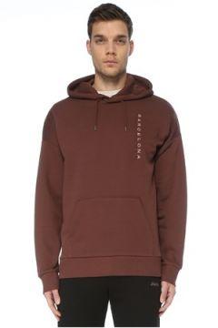 Bassigue Erkek Barcelona Kahverengi Kapüşonlu Sweatshirt S EU(125279113)