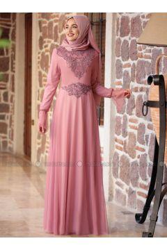 Dusty Rose - Fully Lined - Crew neck - Muslim Evening Dress - Piennar(110316744)