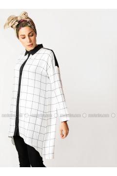 Black - White - Checkered - Point Collar - Viscose - Tunic - Meryem Acar(110332642)