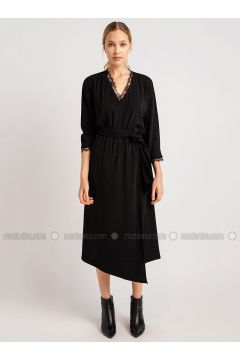 Black - V neck Collar - Dresses - NG Style(110341235)