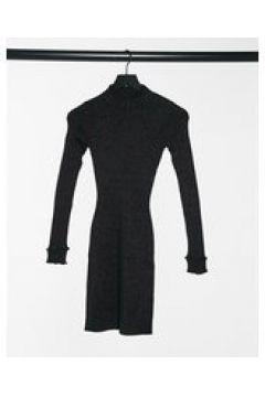 Fashion Union - Vestito corto accollato in maglia glitterata-Nero(124131165)