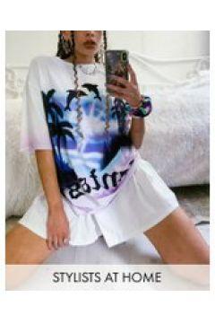 Jaded London - T-shirt oversize con stampa fantasia con delfino in coordinato-Bianco(120380970)