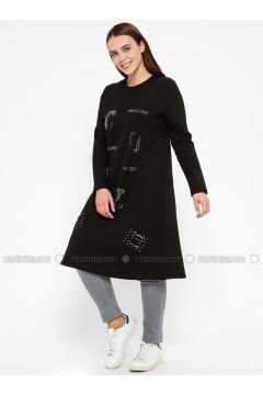 Black - Crew neck - Plus Size Tunic - Efraze(110329581)