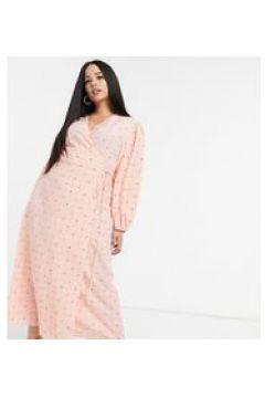 Glamorous Curve - Vestito lungo a portafoglio rosa vintage a fiorellini con maniche a sbuffo(121394302)