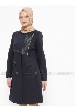 Navy Blue - Fully Lined - Crew neck - Cotton - Coat - Tekbir(110335664)