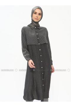 Black - Stripe - Point Collar - Tunic - Tuana(110337863)