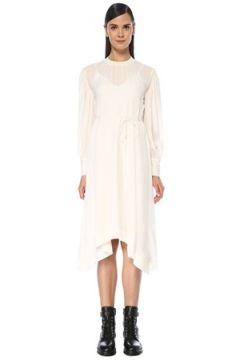 Allsaints Kadın Fayre Beyaz Büzgülü Asimetrik Midi Elbise XS EU(118060080)