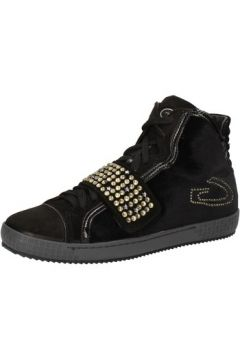 Chaussures Guardiani sneakers noir velours daim strass AE827(88516722)