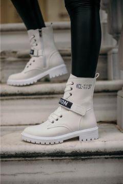 BBB Kadın Beyaz Fashion Beyaz Cilt Bot(124213262)