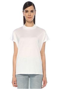 Outpost Kadın Beyaz Dik Yaka Kısa Kol T-shirt S(118330078)